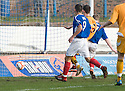 MARC MCKENZIE (7) NIPS IN AT THE BACK POST TO SCORE COWDENBEATH'S FOURTH