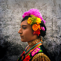 """A Mexican """"Muxe"""" (a homosexual man wearing female clothes) is seen during the traditional procession to the house of """"Mayordomo"""" in Juchitán de Zaragoza, Oaxaca, Mexico, 17 November 2018."""