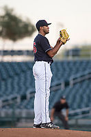 AZL Indians 1 starting pitcher Raymond Burgos (46) looks to his catcher for the sign during an Arizona League game against the AZL White Sox at Goodyear Ballpark on June 20, 2018 in Goodyear, Arizona. AZL Indians 1 defeated AZL White Sox 8-7. (Zachary Lucy/Four Seam Images)
