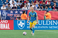 FOXBOROUGH, MA - AUGUST 8: Jakob Glesnes #5 of Philadelphia Union looks to pass during a game between Philadelphia Union and New England Revolution at Gillette Stadium on August 8, 2021 in Foxborough, Massachusetts.