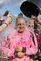 London, UK on Sunday 31st August, 2014. Daniel Halawi undertakes the ALS Ice Bucket Challenge during the Soccer Six charity celebrity football tournament at Mile End Stadium, London.