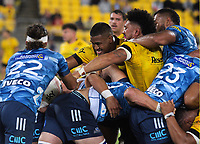 Julian and Ardie Savea try to disrupt a Blues maul during the Super Rugby Aotearoa match between the Hurricanes and Blues at Sky Stadium in Wellington, New Zealand on Saturday, 27 February 2021. Photo: Mike Moran / lintottphoto.co.nz
