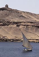 Afrique/Egypte/Assouan: Felouque sur les bords du Nil