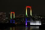 The Rainbow Bridge is lit up in Tokyo, Japan on June 2, 2020. (Photo by Hiroyuki Ozawa/AFLO)