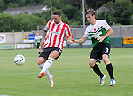 10 July 2014; Rory Patterson, Derry City, in action against Cledan Davies, Aberystwyth Town. UEFA Europa League First Qualifying Round, Second Leg, Aberystwyth Town v Derry City. Park Avenue, Aberystwth, Wales. Picture credit: Ian Cook / SPORTINGWALES