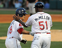 April 30, 2009: Coach Billy McMillon of the Greenville Drive congratulates catcher Tim Fededowicz (18) on a home run against the Savannah Sand Gnats at Fluor Field at the West End in Greenville, S.C. Photo by: Tom Priddy/Four Seam Images