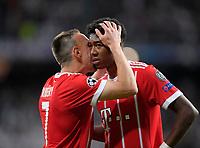 01.05.2018, Football UEFA Champions League 2017/2018, semi final  Rueckspiel, Real Madrid - FC Bayern Muenchen, Bernabeu-stadium Madrid. David Alaba (FC Bayern Muenchen) weint  bittere Traenen. Franck Ribery (FC Bayern Muenchen) kuesst ihn troestend. *** Local Caption *** © pixathlon<br /> <br /> Contact: +49-40-22 63 02 60 , info@pixathlon.de