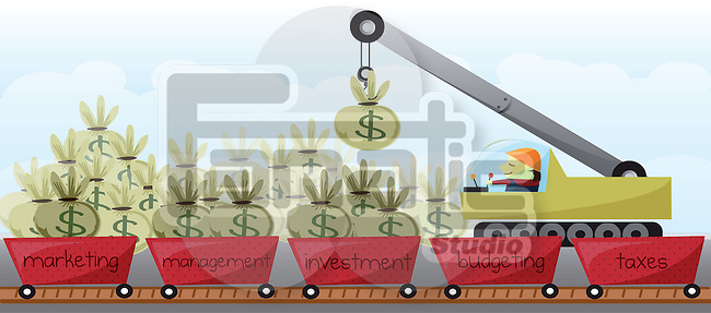 Illustration shot businessman allocating money in different departments