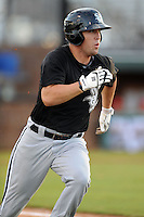 Bristol White Sox left fielder Nolan Earley #10 runs to first during a game against the Johnson City Cardinals at Howard Johnson Field on August 19, 2013 in Johnson City, Tennessee. The White Sox won the game 5-4. (Tony Farlow/Four Seam Images)
