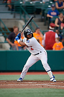 Brooklyn Cyclones Jose Peroza (4) at bat during a NY-Penn League game against the Tri-City ValleyCats on August 17, 2019 at MCU Park in Brooklyn, New York.  Brooklyn defeated Tri-City 2-1.  (Mike Janes/Four Seam Images)