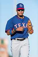 AZL Rangers right fielder Fernando Valdez (46) jogs off the field between innings of an Arizona League game against the AZL Giants Black at Scottsdale Stadium on August 4, 2018 in Scottsdale, Arizona. The AZL Giants Black defeated the AZL Rangers by a score of 3-2 in the first game of a doubleheader. (Zachary Lucy/Four Seam Images)