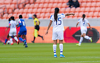 HOUSTON, TX - JANUARY 31: Stephannie Blanco #15 of Costa Rica yells to her team during a game between Haiti and Costa Rica at BBVA Stadium on January 31, 2020 in Houston, Texas.