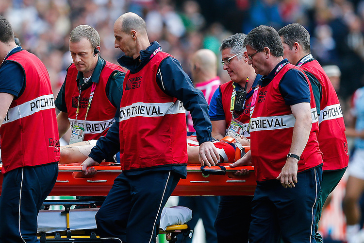 Japan Winger Akihito Yamada is stretchered off the pitch after an injury - Mandatory byline: Rogan Thomson - 03/10/2015 - RUGBY UNION - Stadium:mk - Milton Keynes, England - Samoa v Japan - Rugby World Cup 2015 Pool B.