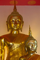 Bangkok, Thailand.  Buddha in Small Temple at Base of Wat Saket (Phu Khao Thong), the Golden Mount.