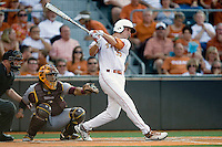 Texas Longhorn centerfielder Paul Montalbano #35 at bat against the Arizona State Sun Devils  in NCAA Tournament Super Regional Game #3 on June 12, 2011 at Disch Falk Field in Austin, Texas. (Photo by Andrew Woolley / Four Seam Images)