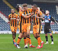 Hull City's Josh Magennis is congratulated on scoring his team's 3rd goal<br /> <br /> Photographer Dave Howarth/CameraSport<br /> <br /> The EFL Sky Bet League One - Rochdale v Hull City - Saturday 17th October 2020 - Spotland Stadium - Rochdale<br /> <br /> World Copyright © 2020 CameraSport. All rights reserved. 43 Linden Ave. Countesthorpe. Leicester. England. LE8 5PG - Tel: +44 (0) 116 277 4147 - admin@camerasport.com - www.camerasport.com