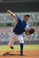 May 14 2009: Steven Johnson of the Inland Empire 66'ers pitches against the Stockton Ports at Arrowhead Credit Union Park in San Bernardino,CA.  Photo by Larry Goren/Four Seam Images