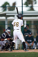 GCL Pirates outfielder Michael De La Cruz (56) at bat during the second game of a doubleheader against the GCL Yankees 2 on July 31, 2015 at the Pirate City in Bradenton, Florida.  The game was suspended after two innings due to rain.  (Mike Janes/Four Seam Images)