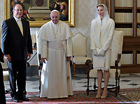 Princess Charlene of Monaco<br /> The privilege of the white is a special privilege granted to Catholic queens, or the wives of the Catholic kings, which, during the audience with the Pope, can wear a white dress instead of the usual black dress prescribed by ceremonial.<br /> <br /> White is currently the privilege granted only to the queen Letizia of Spain, Queen Mathilde of Belgium, Princess Charlene of Monaco, former Queen Sofia of Spain, former Queen Paola of Belgium and the Grand Duchess Maria Teresa of Luxembourg.<br /> <br /> Until 1946 the privilege was also granted to the Italian queen and princesses of the House of Savoy. Although Catholics, the privilege is not granted to the Principality of Liechtenstein and the Kingdom of Lesotho, and, until 2013, was not granted to the Principality of Monaco. The wives of the presidents do not enjoy the privilege of white.<br /> Pope Francis  Prince Albert II  and Princess Charlene of Monaco private audience with the pontiff at the Vatican on January 18, 2016.