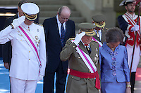 Prince Felipe, Spanish Royals King Juan Carlos of Spain, Queen Sofia of Spain<br /> Principe Felipe, Regina Sofia, Re Juan Carlos <br /> Madrid 08-06-2014 <br /> Giornata nazionale delle forze armate di Spagna <br /> Foto ALTERPHOTOS/Victor Blanco/Insidefoto