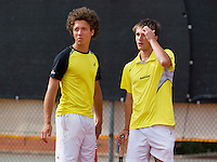 August 9, 2014, Netherlands, Rotterdam, TV Victoria, Tennis, National Junior Championships, NJK,  Final boys 18 years doubles: Casper Bonapart (L) and Guy den Heijer    (NED)<br /> Photo: Tennisimages/Henk Koster