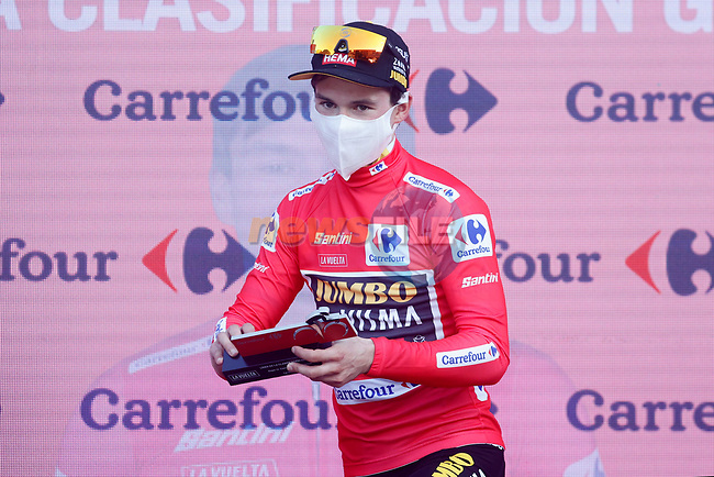 Primoz Poglic (SLO) Team Jumbo-Visma wins Stage 10 and takes over the race leaders Red Jersey of the Vuelta Espana 2020 running 187.4km from Castro Urdiales to Suances, Spain. 30th October 2020.    <br /> Picture: Luis Angel Gomez/PhotoSportGomez | Cyclefile<br /> <br /> All photos usage must carry mandatory copyright credit (© Cyclefile | Luis Angel Gomez/PhotoSportGomez)