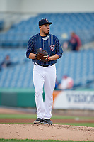Syracuse Chiefs Cesar Vargas (31) gets ready to deliver a pitch during a game against the Lehigh Valley IronPigs on May 20, 2018 at NBT Bank Stadium in Syracuse, New York.  Lehigh Valley defeated Syracuse 5-2.  (Mike Janes/Four Seam Images)