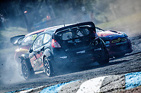 Roger Thomas, Ford Fiesta WRX, BRX Supercars gives Tristan Ovenden, Citroen DS3, BRX Supercars a nudge on the final lap during the 5 Nations BRX Championship at Lydden Hill Race Circuit on 31st May 2021