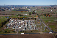 aerial photograph Pacific Gas & Electric substation Petaluma, Sonoma county, California