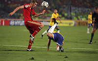 Germany's Sven Bender (6) takes control of the ball after stopping a goal drive by Brazil's Diogo (6) during the FIFA Under 20 World Cup Quarter-final match at the Cairo International Stadium in Cairo, Egypt, on October 10, 2009. Germany lost 2-1 in overtime play.