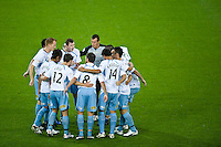 MELBOURNE, AUSTRALIA - NOVEMBER 27: Sydney FC huddle before the start of the round 16 A-League match between the Melbourne Heart and Sydney FC at AAMI Park on November 27, 2010 in Melbourne, Australia. (Photo by Sydney Low / Asterisk Images)