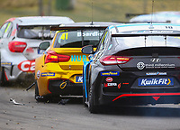30th August 2020; Knockhill Racing Circuit, Fife, Scotland; Kwik Fit British Touring Car Championship, Knockhill, Race Day; Debris flies as Senna Proctor and Carl Boardley collide during round 11 of the BTCC