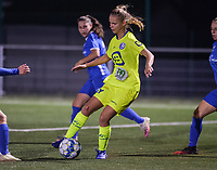 Lore Jacobs (17) of AA Gent pictured during a female soccer game between  Racing Genk Ladies and AA Gent Ladies ,  on the 6 th  matchday of the 2021-2022 season of the Belgian Scooore Womens Super League , friday 8 october 2021  in Genk , Belgium . PHOTO SPORTPIX | JILL DELSAUX