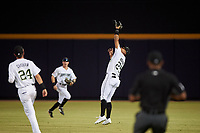 Peoria Javelinas right fielder Julio Rodriguez (25), of the Seattle Mariners organization, makes a leaping catch during an Arizona Fall League game against the Surprise Saguaros on September 22, 2019 at Peoria Sports Complex in Peoria, Arizona. Surprise defeated Peoria 2-1. (Zachary Lucy/Four Seam Images)