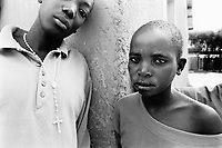 Rwanda. Gitagata. Prison for 152 children, aged 4 to 14, all convicted for active involvement (murder) in the 1994 rwandese genocide. Reeducation camp for minors. Children portrait. One boy has a catholic holy cross around his neck. © 1995 Didier Ruef