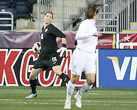 Nicole Barnhart #18 of the USA WNT throws the ball out during an international friendly match against the PRC WNT at PPL Park, on October 6 2010 in Chester, PA.The game ended in a 1-1 tie.