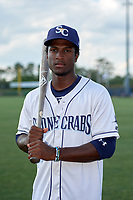 Charlotte Stone Crabs shortstop Lucius Fox (2) poses for a photo before a game against the Palm Beach Cardinals on April 21, 2018 at Charlotte Sports Park in Port Charlotte, Florida.  Charlotte defeated Palm Beach 5-2.  (Mike Janes/Four Seam Images)