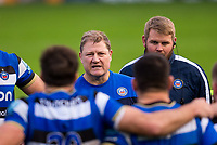 Bath Rugby's Head Coach Neal Hatley talks to the players at the end of the match<br /> <br /> Photographer Bob Bradford/CameraSport<br /> <br /> Gallagher Premiership Round 1 - Bath Rugby v Newcastle Falcons - Saturday 21st November 2020 - The Recreation Ground - Bath<br /> <br /> World Copyright © 2020 CameraSport. All rights reserved. 43 Linden Ave. Countesthorpe. Leicester. England. LE8 5PG - Tel: +44 (0) 116 277 4147 - admin@camerasport.com - www.camerasport.com