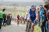 Yves Lampaert (BEL/QuickStep Floors) on top of the Paterberg<br /> <br /> 72nd Dwars Door Vlaanderen (1.UWT)<br /> 1day race: Roeselare › Waregem BEL (203.4km)