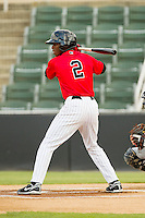 Tim Anderson (2) of the Kannapolis Intimidators at bat against the Greenville Drive at CMC-Northeast Stadium on June 29, 2013 in Kannapolis, North Carolina.  The Intimidators defeated the Drive 9-3 in the completion of the game that began on June 28, 2013.   (Brian Westerholt/Four Seam Images)