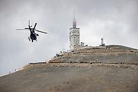 Helicopter flies next to the famed Mont Ventoux <br /> <br /> Stage 11 from Sorgues to Malaucène (198.9km)<br /> 108th Tour de France 2021 (2.UWT)<br /> <br /> ©kramon