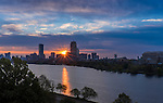 Sunrise over Boston and the Charles River.