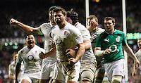 Photo: Richard Lane/Richard Lane Photography. England v Ireland. 17/03/2012. England's Ben Youngs celebrates his try.