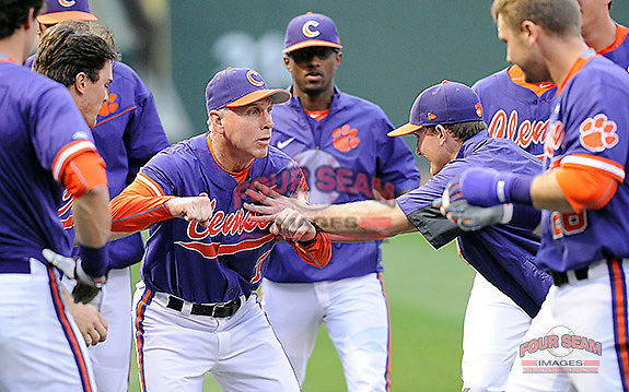 Photo of the Clemson Tigers in a game against the Michigan State Spartans on Wednesday, March 11, 2015, at Fluor Field at the West End in Greenville, South Carolina. Michigan State won, 8-6. (Tom Priddy/Four Seam Images)