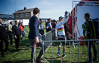 thumbs up for race winner/world champion Michal Kwiatkowski (POL/Ettix-Quickstep)<br /> <br /> 50th Amstel Gold Race 2015