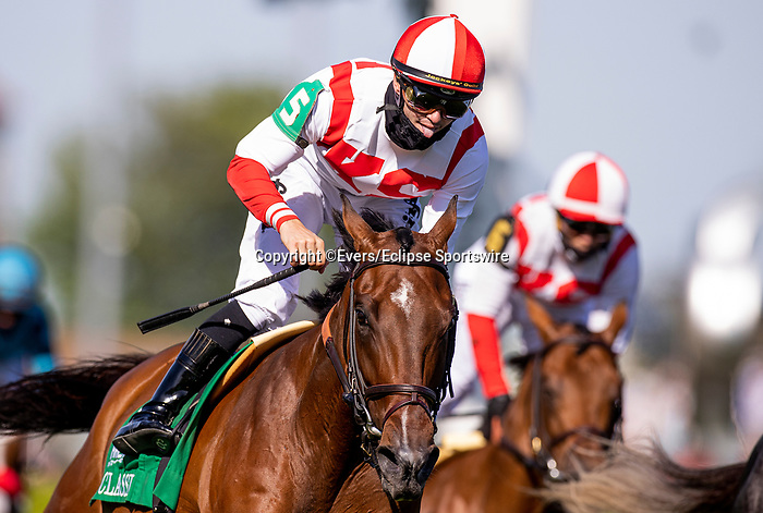MAY 01, 2021: Flavien Prat sticks out his tongue at Irad Ortiz after dead heating in the Old Forester Turf Classic at Churchill Downs in Louisville, Kentucky on May 1, 2021. EversEclipse Sportswire/CSM