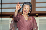 December 23, 2012, Tokyo, Japan - Empress Michiko waves to a throng of well-wishers from behind the bullet-proof glass panel of the Imperial Palace balcony in Tokyo on Sunday, December 23, 2012, on the 79th birthday of Emperor Akihoto. (Photo by AFLO) UUK -mis-