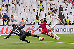 Goalkeeper Khalid Eisa Bilal of United Arab Emirates (L) reaches for the ball after an attempt at goal by Hamid Ismaeil Khaleefa of Qatar (R2) during the AFC Asian Cup UAE 2019 Semi Finals match between Qatar (QAT) and United Arab Emirates (UAE) at Mohammed Bin Zaied Stadium  on 29 January 2019 in Abu Dhabi, United Arab Emirates. Photo by Marcio Rodrigo Machado / Power Sport Images