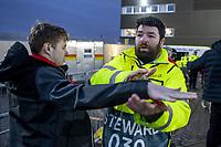 12th March 2020, Ibrox Stadiu, Glasgow, Scotland; Europa League football, Glasgow Rangers versus Bayer Leverkusen;  A steward searches a Leverkusen fan