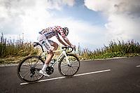 Polka Dot Jersey / KOM leader Benoit Cosnefroy (FRA/AG2R-La Mondiale) up the finish climb & the highest peak of the 2020 #TdF: the Col de la Loze (HC/2304m/21,5km @7,8%)<br /> <br /> Stage 17 from Grenoble to Méribel - Col de la Loze (170km)<br /> <br /> 107th Tour de France 2020 (2.UWT)<br /> (the 'postponed edition' held in september)<br /> <br /> ©kramon